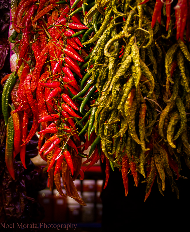 Colorful regional peppers on display