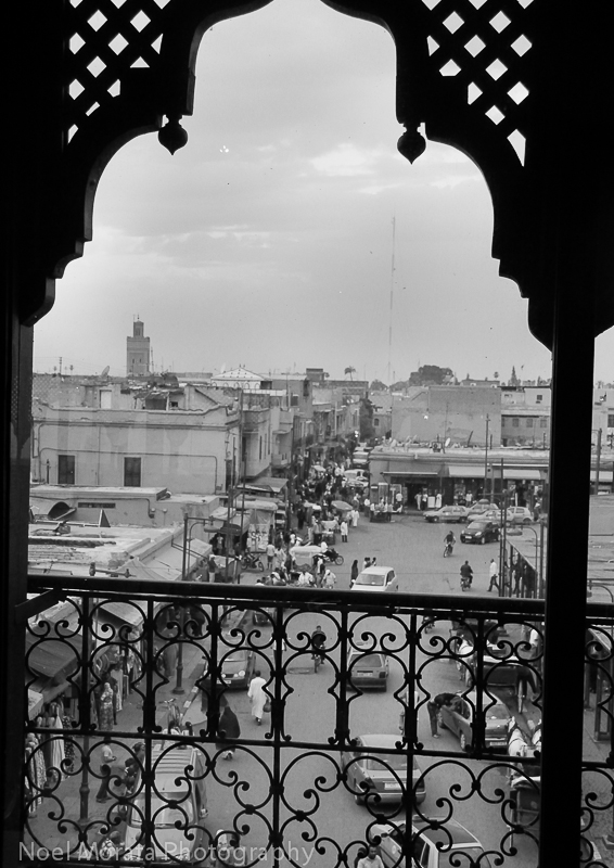 Balcony scene overlooking Marrakesh
