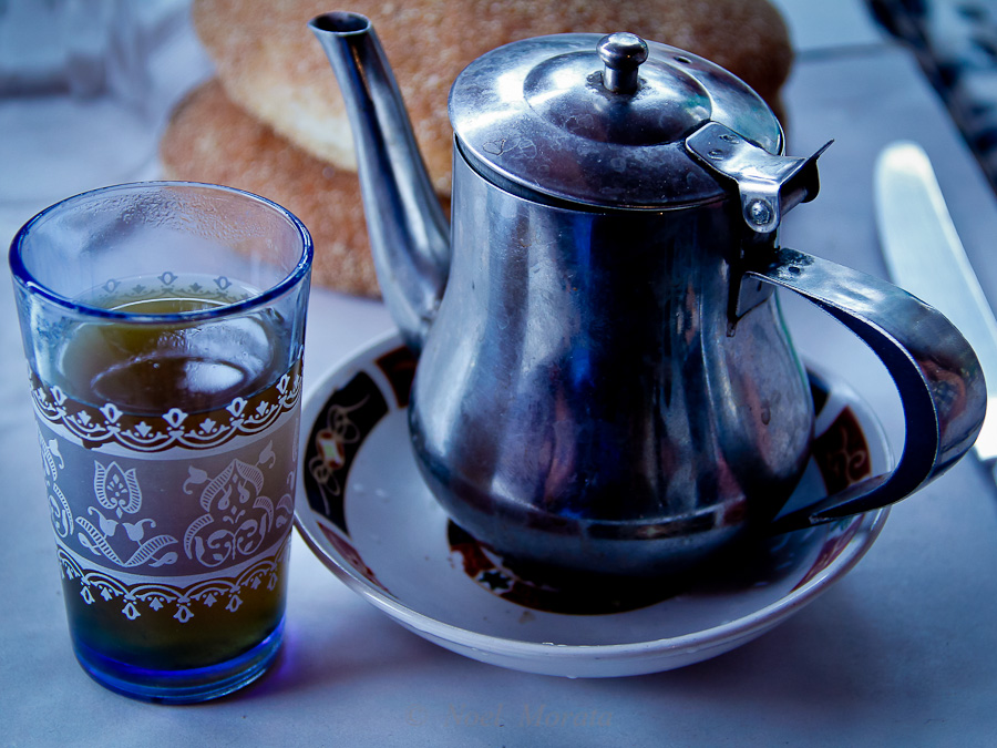 Traditional mint tea served at every meal