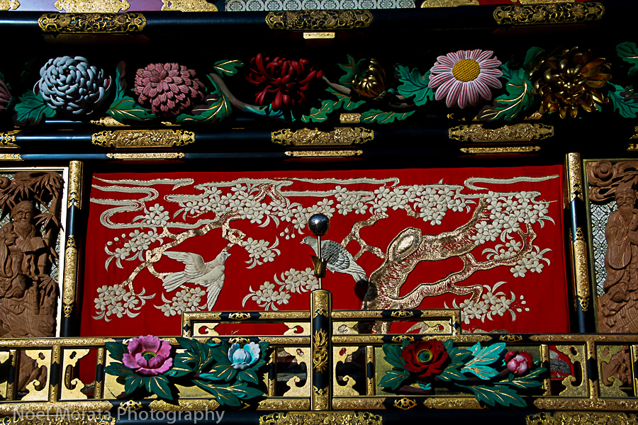 Intricate panel details to the yatai float
