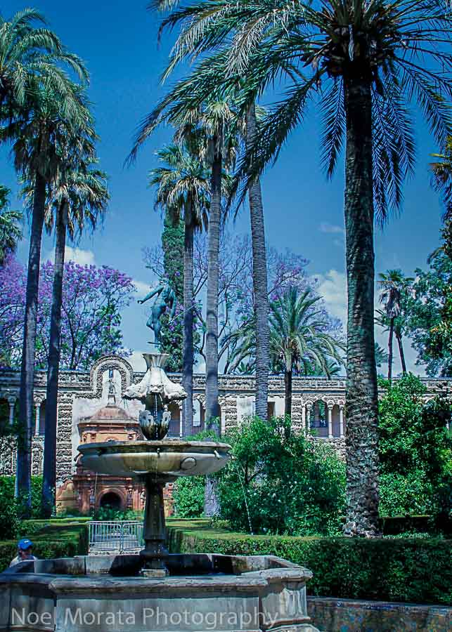 Outdoor water gardens at the Alcazar in Seville