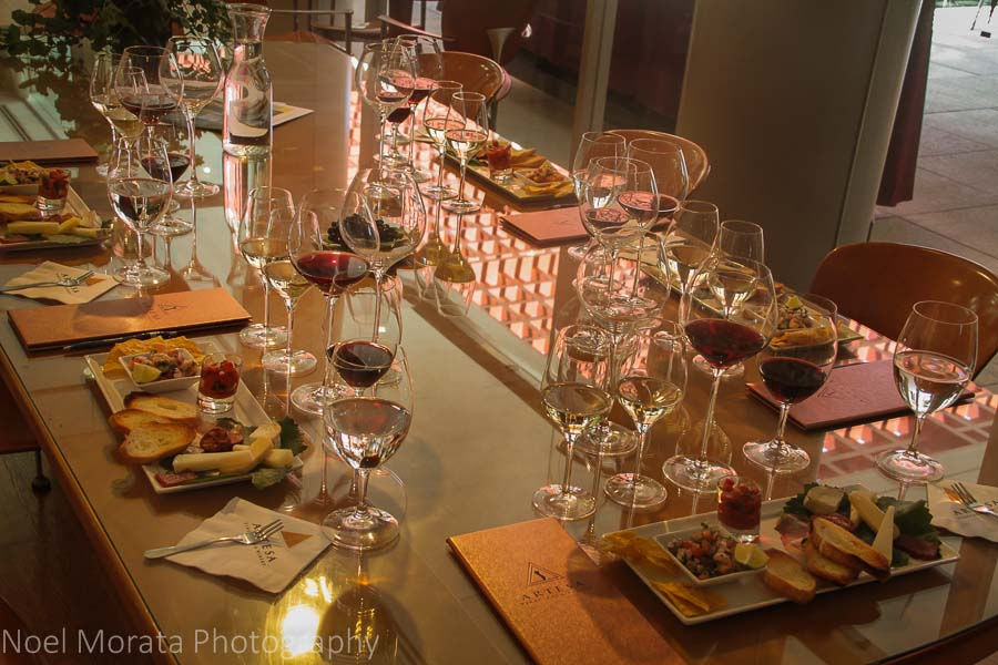 A sampler of tapas and Artesa wines