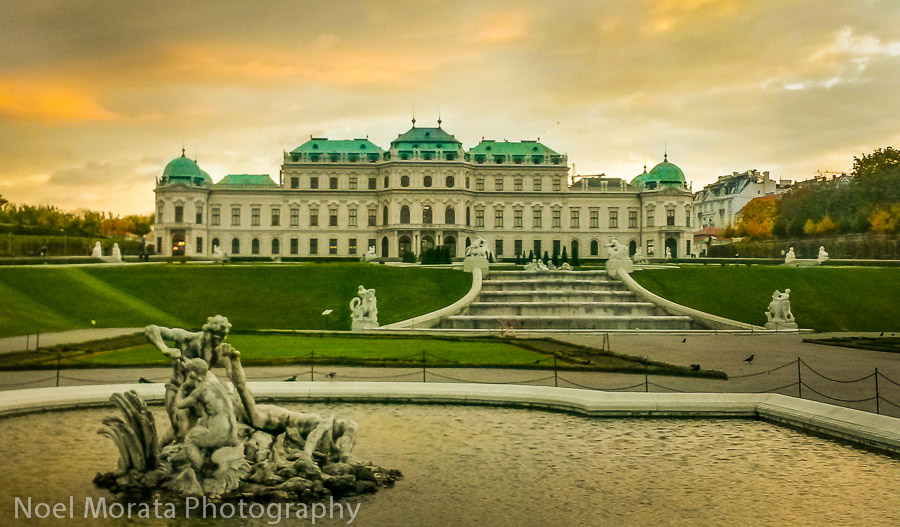 Sunset skies at the Belvedere garden in Vienna