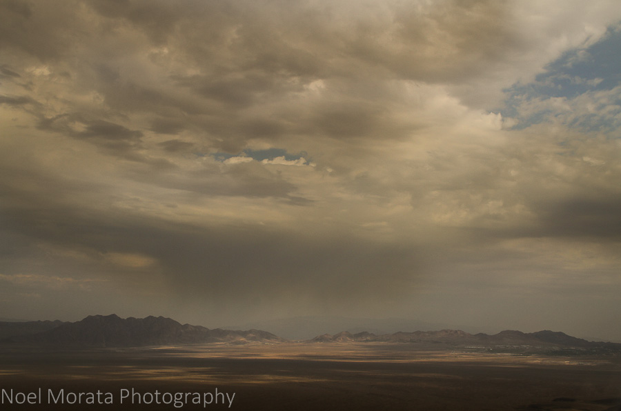 Dramatic clouds over the desert plains outside of Las Vegas