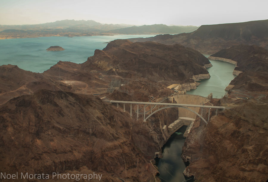 Looking down on Hoover Dam and Lake Mead