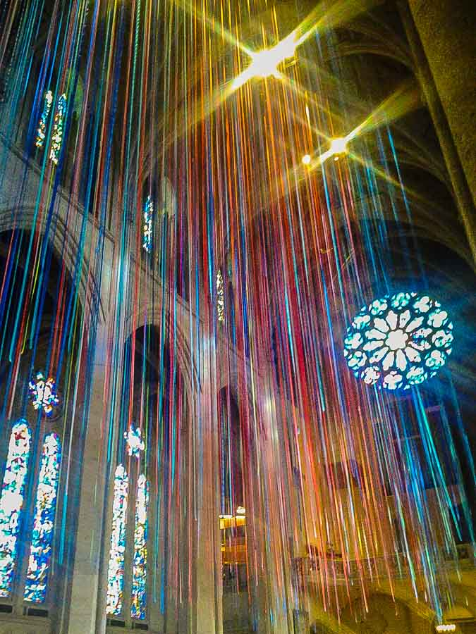 The festive interior at Grace Cathedral