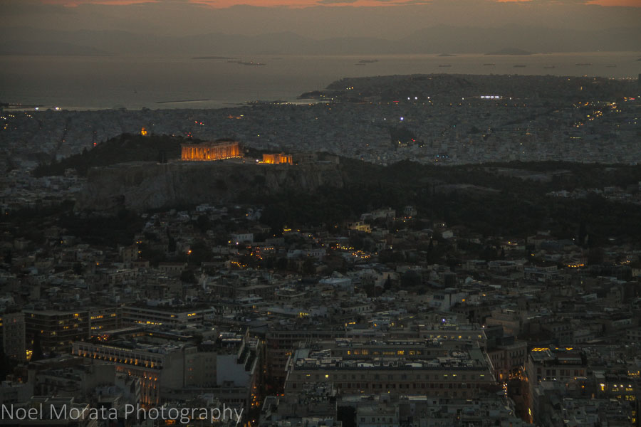 Acropolis at night from Lycabettus Hill