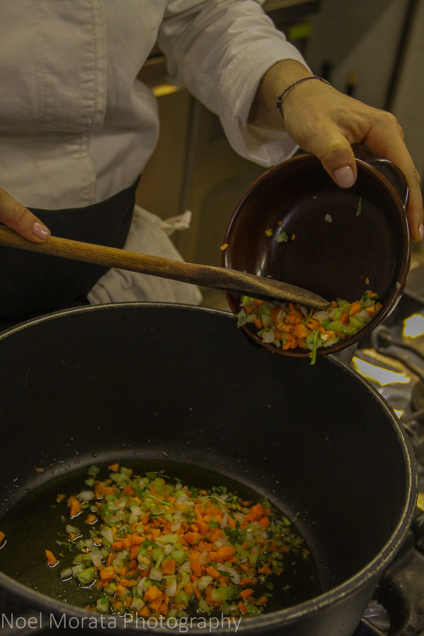 Making a sauce for the Italian Meatballs with Bolognese sauce