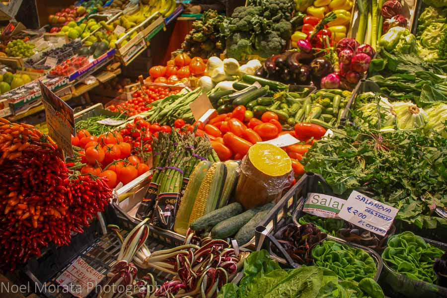 Vegetable stall at the Mercato Del Herb  in Bologna