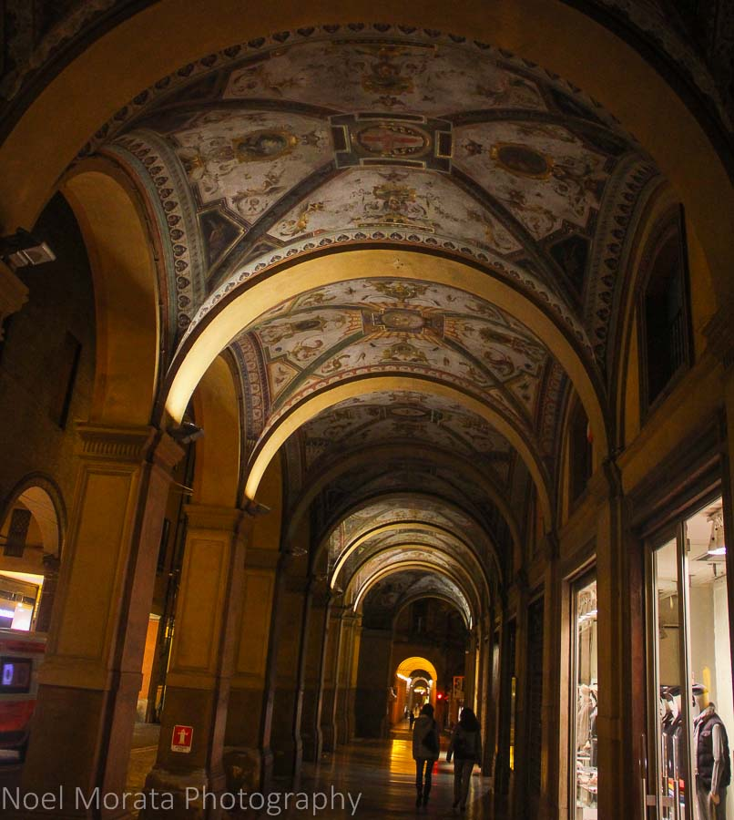 Bologna porticoes at night time