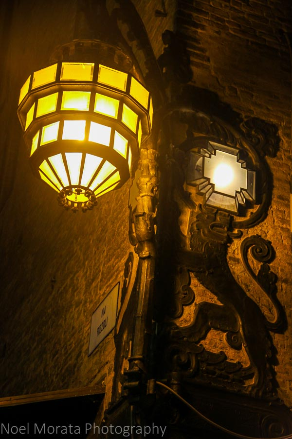 Light fixture detail in Bologna's historic district