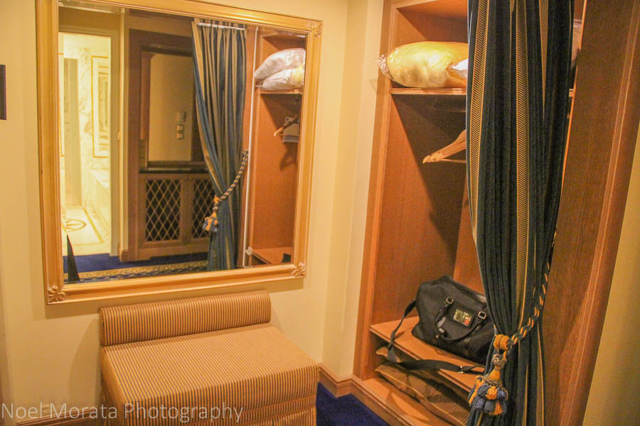 Walk in closet at the Royal Olympic Hotel