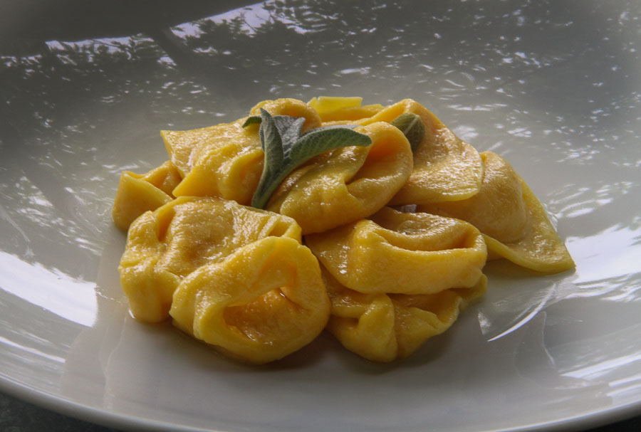 Bolognese Pumpkin Tortellini in a simple butter and sage sauce