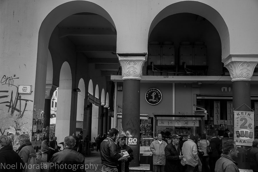 Thessaloniki Central Market in black and white