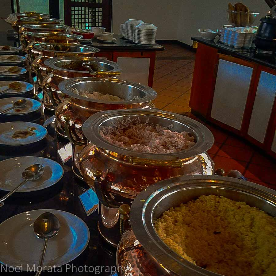 A variety of coconut based curries at Cinnamon Hotels