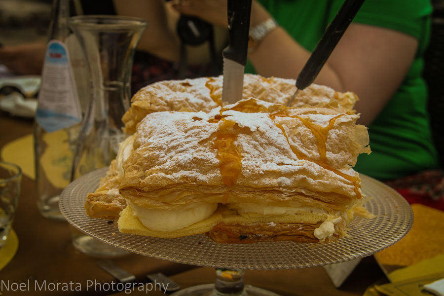 A layered crème and pudding cake with puff pastry at  Lake Garda at Peschiera