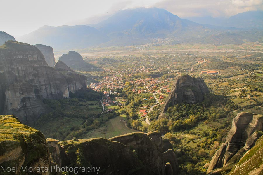 Looking down at the main town of Kalampaka in Meteora