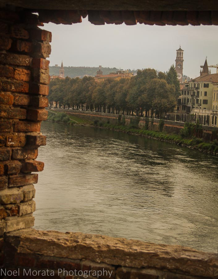 A view from the medieval bridge looking to Verona, Italy