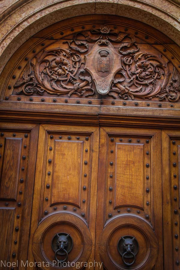 Elaborate carved doors and portals at Verona, Italy
