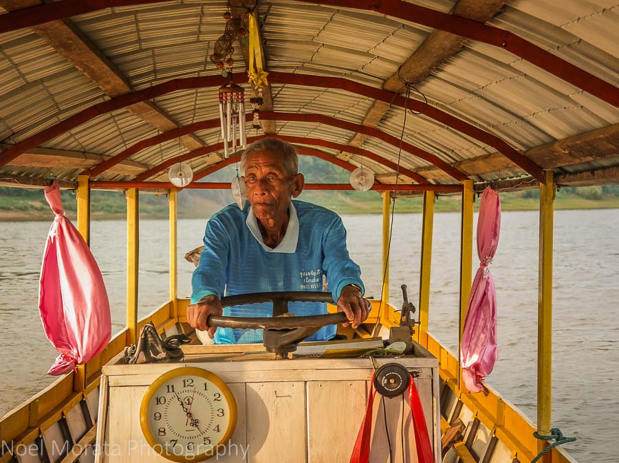The boat captain on the Mekong cruise at Chiang Khan