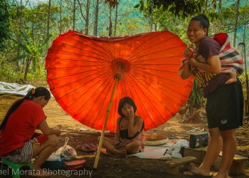 An outdoor gathering, Akha village tribe