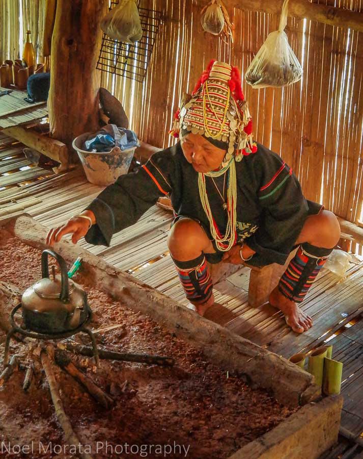 Preparing some tea for the visitors, Akha village tribe
