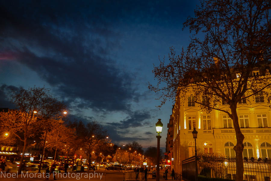 Champs Elysees at night time, Paris
