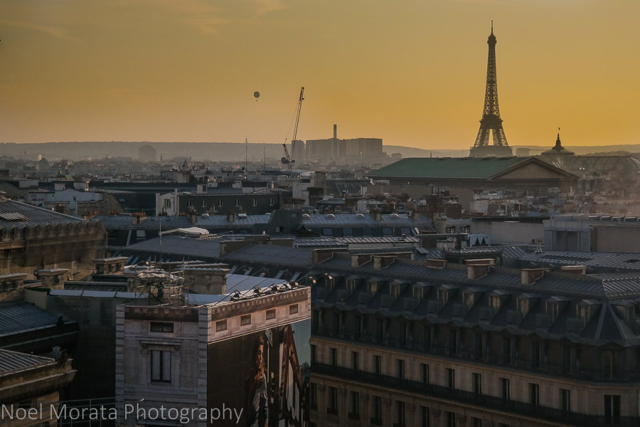 Sunset in Paris with the Eiffel tower in the background