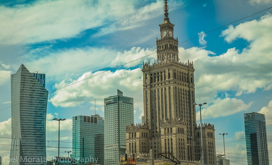 Old and modern skyline of downtown Warsaw, Poland
