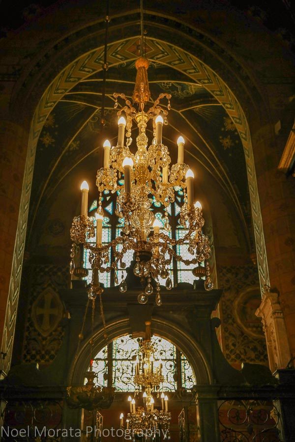 Beautiful chandeliers of St. Mary's basilica