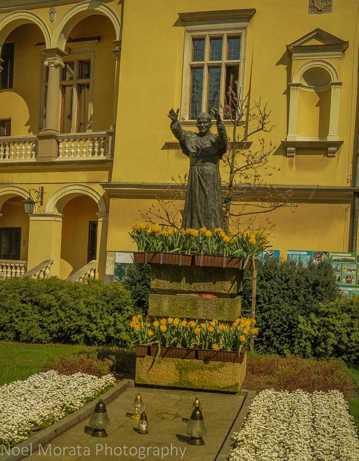 Krakow Bishop's palace and John Paul II statue