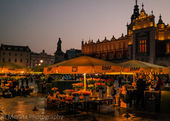 Krakow at night time - The main square at Rynek Glowny