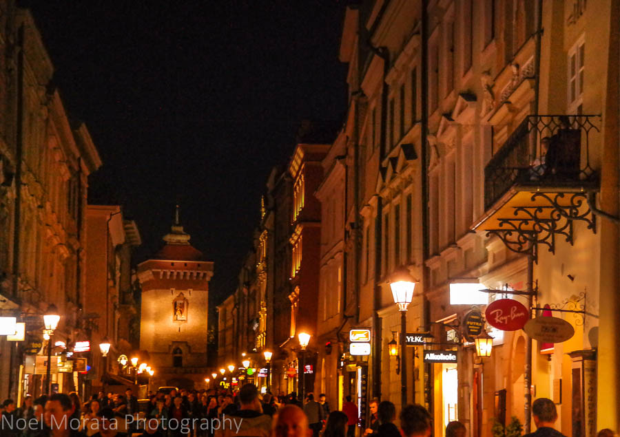 A busy pedestrian street in the old town of Krakow