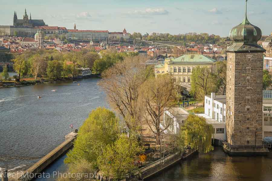 Views of the Vltava river from the Dancing house building