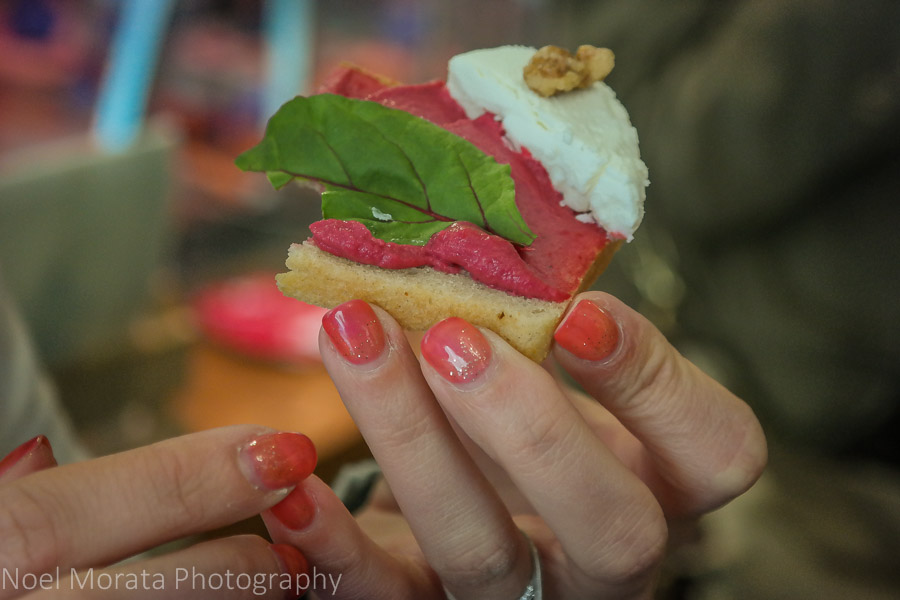 Eating and touring Prague in one day - Tasting open faced sandwiches in the Jewish district