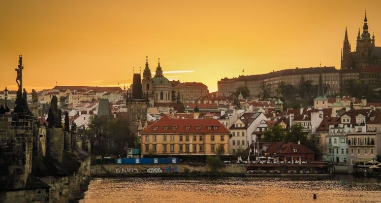 15 stunning views of Prague - sunset views from St. Charles bridge
