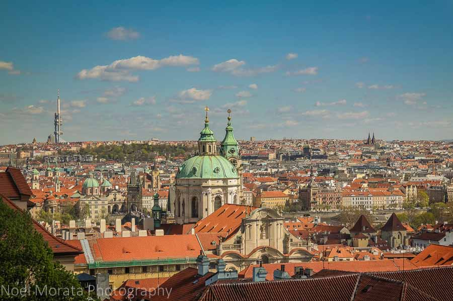 Scenic panorama of the city from Prague castle