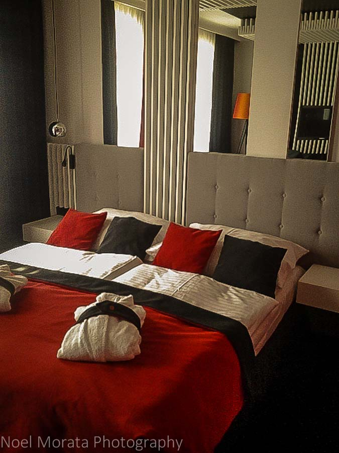 Bedroom scene at Hotel Clement, Prague city center