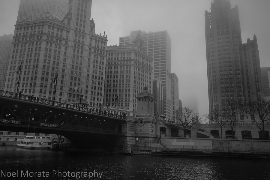 The Wrigley Building, and the Tribune Tower in black and white