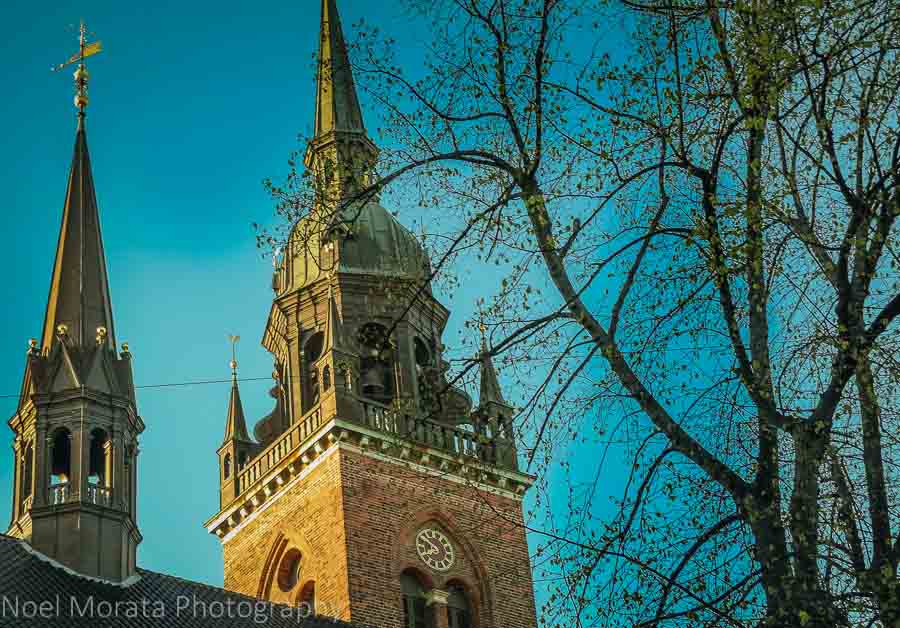 A striking church steeple in the Stroget shopping district