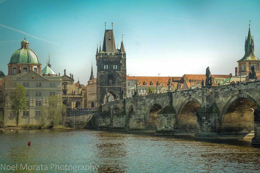 Scenic image of the St. Charles bridge and the Old town of Prague