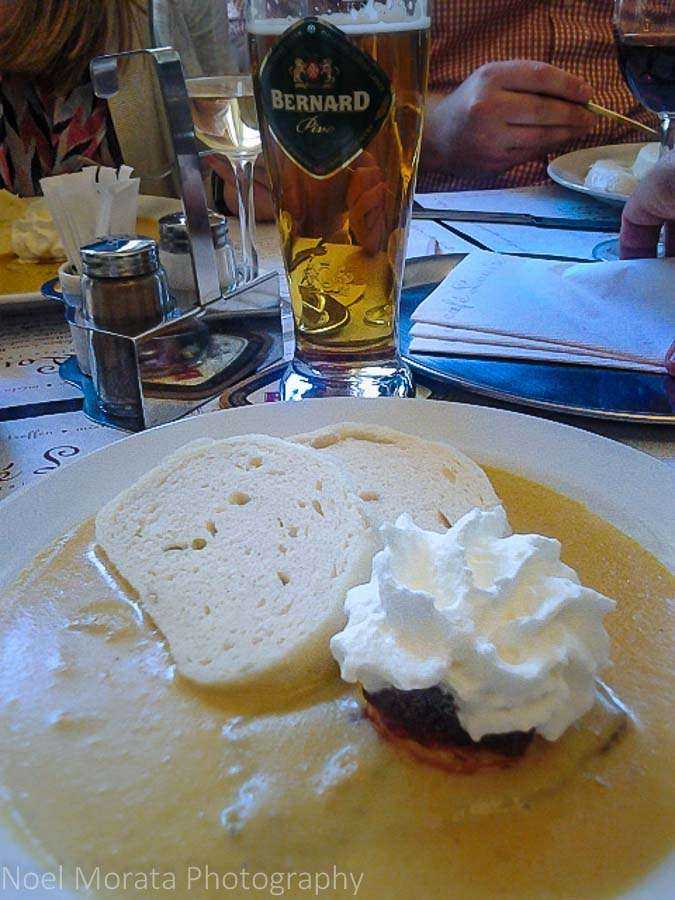 Eating and touring Prague - Slowly braised beef and Czech dumplings with cranberry compote