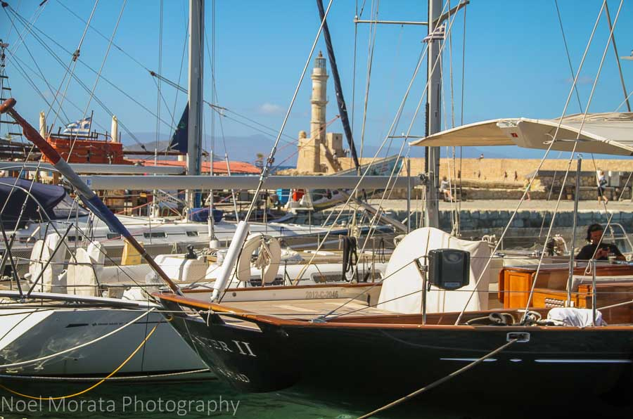 Ships and boats in the port area of Chania, Crete