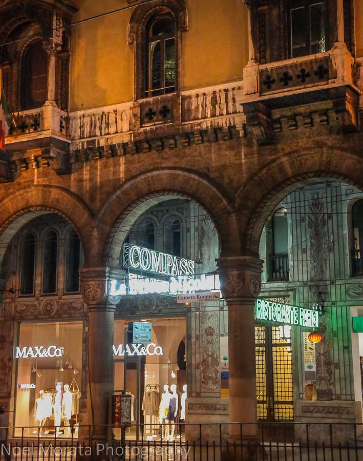 Neon lit galleries at Via XX Settembre in Genoa, Italy