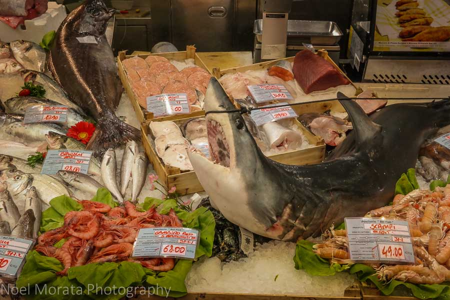 Dramatic seafood display at Mercato Orientale, Genoa