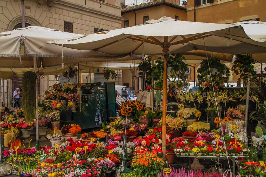 Daily flower market at Campo Fiori in Rome.