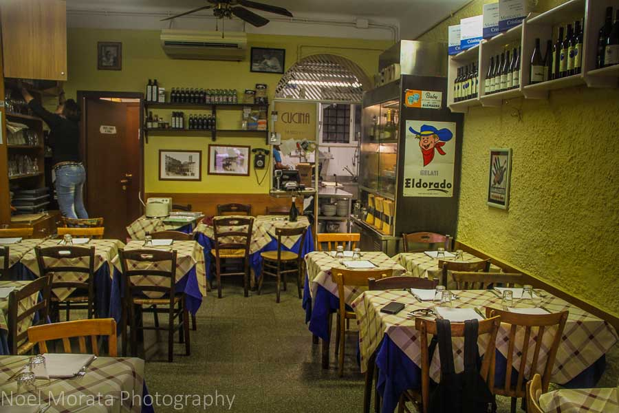 A simple trattoria in Trastevere; tasting specialty and local foods