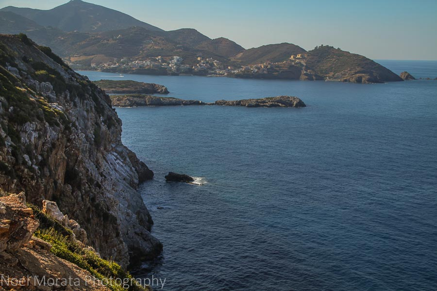 Cliff views to a secluded bay in Crete, Greece