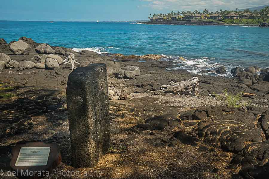 Symbolic stone rock along the ancient fishing village at Keauhou