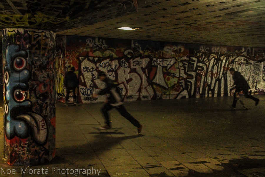 Skate boarding in Bankside, London